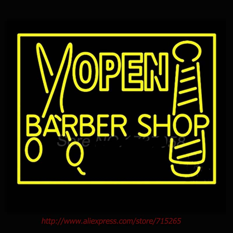 Barber Shop Open Outdoor Neon Sign Handcrafted Neon Bulbs Real GlassTube Decorate hotel Store Display Fast ship Garage sign30x24(China (Mainland))