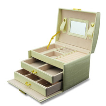 Watches Necklace Box Jewelry Packaging Case 3 Layers Leather With Lock Mirror Makeup Case Accessorie Organizer Storage Box(China (Mainland))
