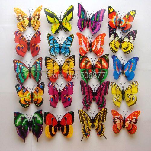 2014 Home Decor 100PCS, 7cm 3D Artficial Double Wing Butterfly Wedding Decoration /Fridge Magnet / Refrigerator Magnet Butterfly