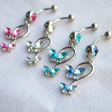 Butterfly Crystal 316L Stainless Steel  belly piercing button rings steampunk rock vintage fine charms jewelry