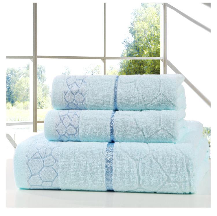 Genuine Face Hand Towel sets 3pc High Quality 34cm*75cm 70*140cm 100% Cotton Brand Bath Towel Set 3 Colors wholesale New 2015(China (Mainland))