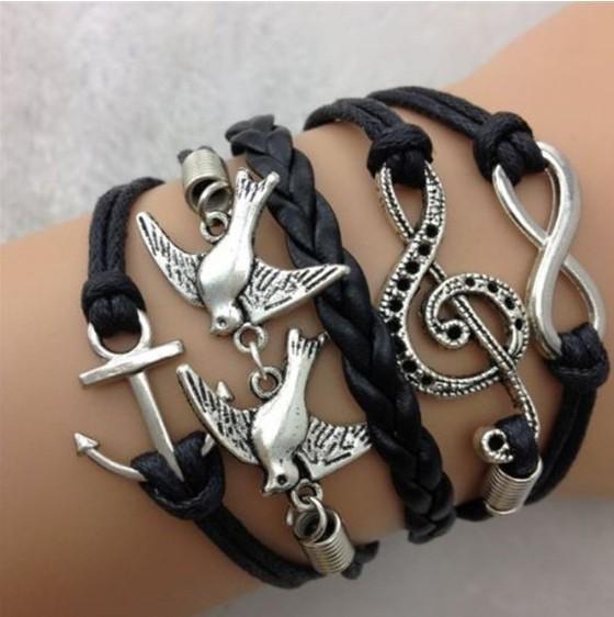 Ebay Amazon HOT jewelry fashion peace peace dove Music operator Anchor Bracelet multilayer Woven Bangles for women free ship(China (Mainland))
