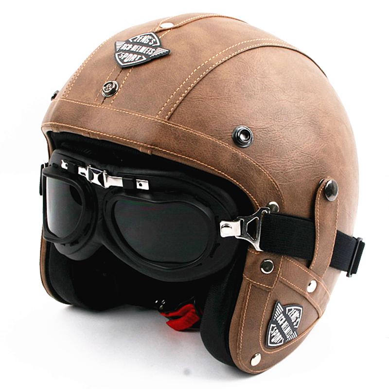 Buy Men Vintage Leather Motorcycle Helmet Open Face Retro ...