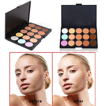Free Shipping New Professional 15 Color Make Up Cream Camouflage Concealer Palette Makeup Tools FATE(China (Mainland))