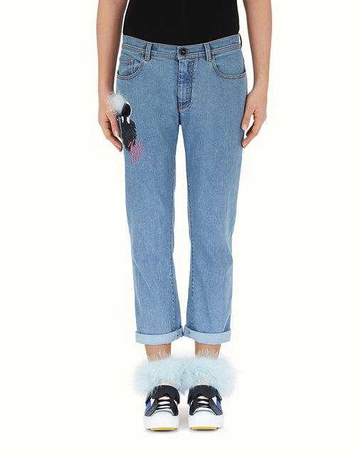2015 новая европа и америка известные бренды тонкий прямой капри мультфильм джинсы ...