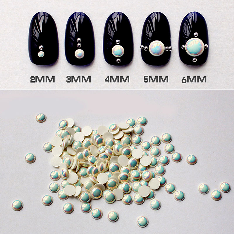 Nail Art Decorations New Arrive 3D Nail Art Supplies 3D Nail Jewelry Colorful AB Pearls for Nails Studs Manicure Nagels ZJ1104(China (Mainland))