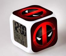 Creative Deadpool 3D LED digital tabel alarm clock 2016 New 7 color changing relojes despertadores de mesa sveglia lights toys(China (Mainland))