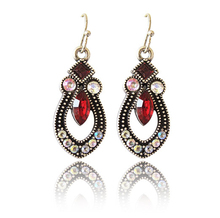 Vintage Noble WOmen Fashion European Austria Red Zircon Crystal Luxury Water Drop Drop Earrings  E18(China (Mainland))