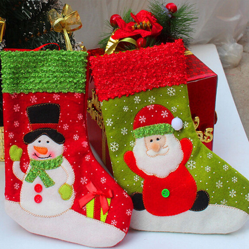 New Style 2pcs/lot Christmas Stockings Socks Children Candy Gift Bags Christmas Tree Decoration Supplies Santa Claus Hot Selling(China (Mainland))