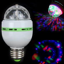 hot E27 RGB Stage Lighting Effect 3W 3X LED Rotating Crystal Ball Light Lamp Disco / DJ Party Festival Decoration - HanNuo Limited store