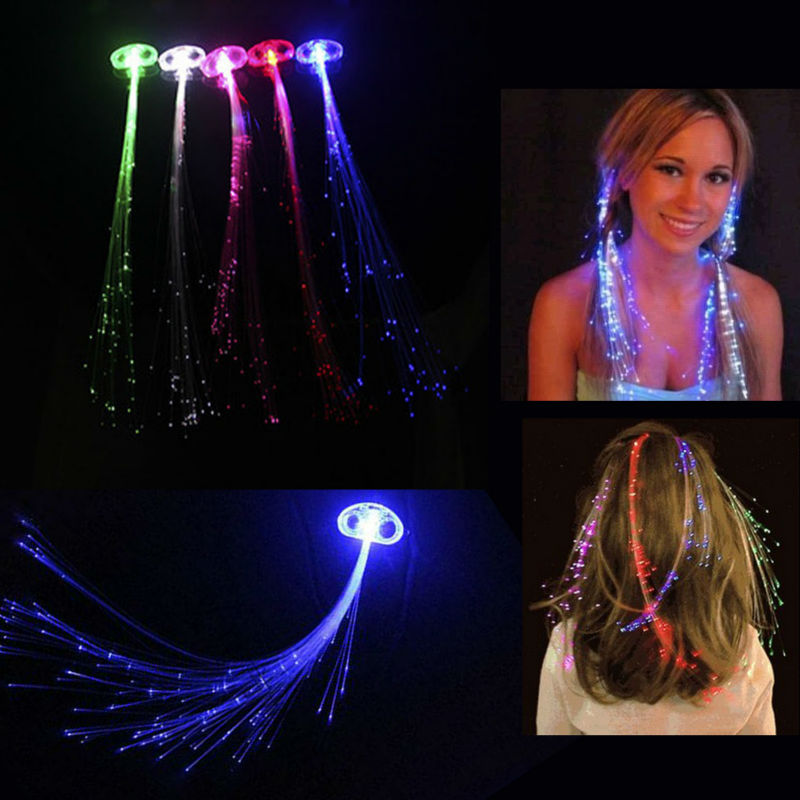 10pcs/lot Flash LED Hair Braid Novelty Hairpin Decoration LIGHT UP For Show Party free shipping(China (Mainland))