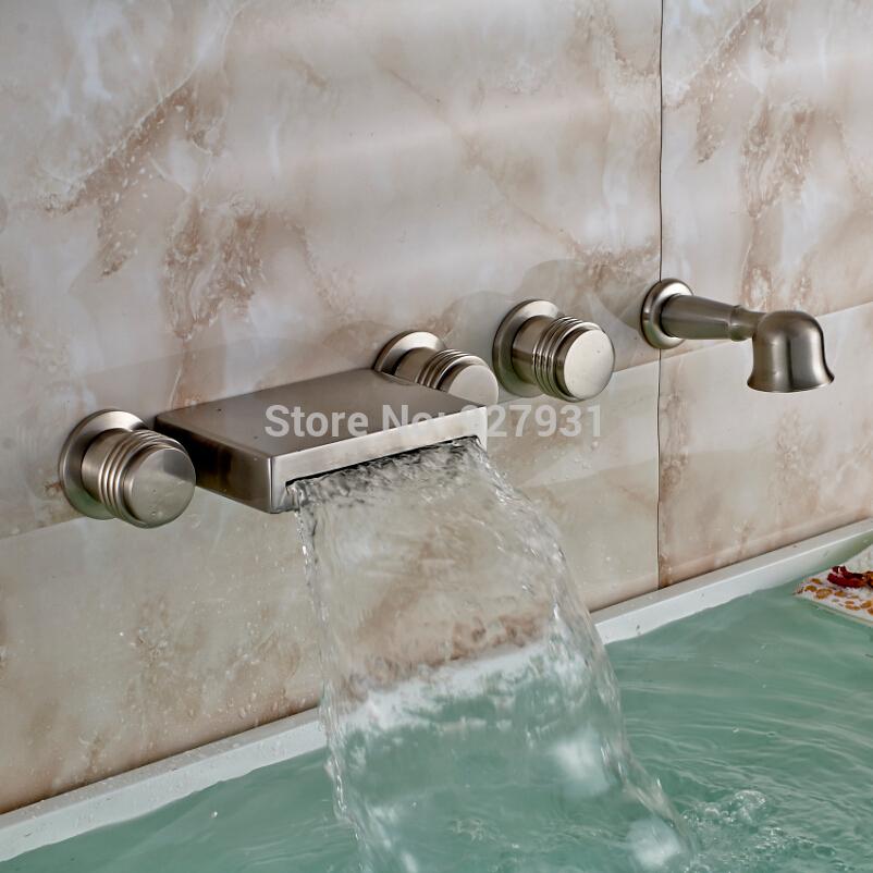 Modern Wall Mounted Roman Bathtub Brushed Nickel Bathroom Tub Faucet W Hand S