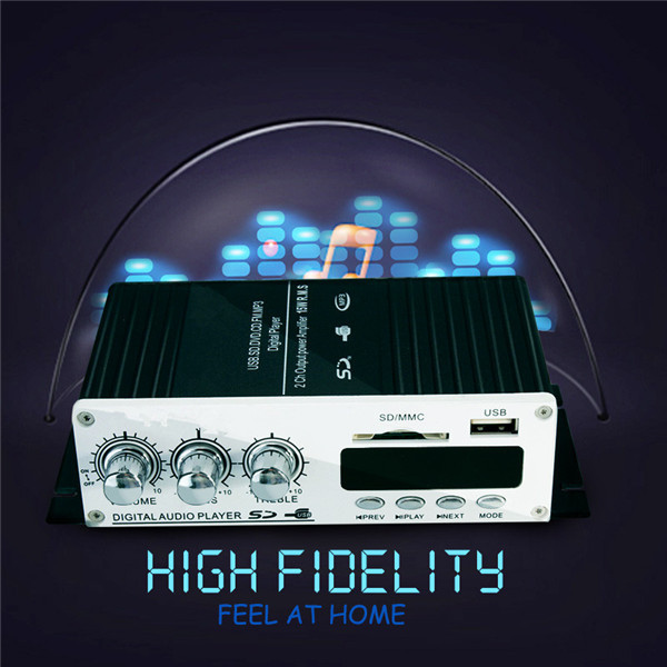 USB Mini Super Bass Stereo Audio Car Power Amplifier USB DVD CD with FM MP3 Remote Controller(China (Mainland))