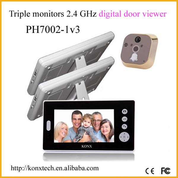 Venta al por mayor 2 4 ghz de la puerta de intercomunicaci n inal mbrica de mirilla timbre video - Camara mirilla puerta wifi ...