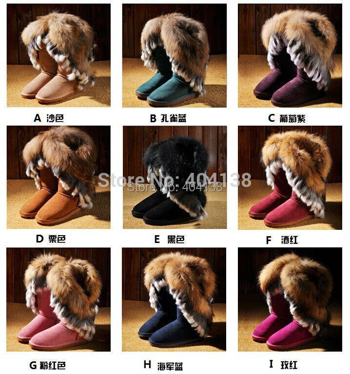 20 цветов бренда кожа теплая зима кролик плюшевый мех лодыжки середины икры замши женщин снега сапоги хорошего качества плюс размер 34-43