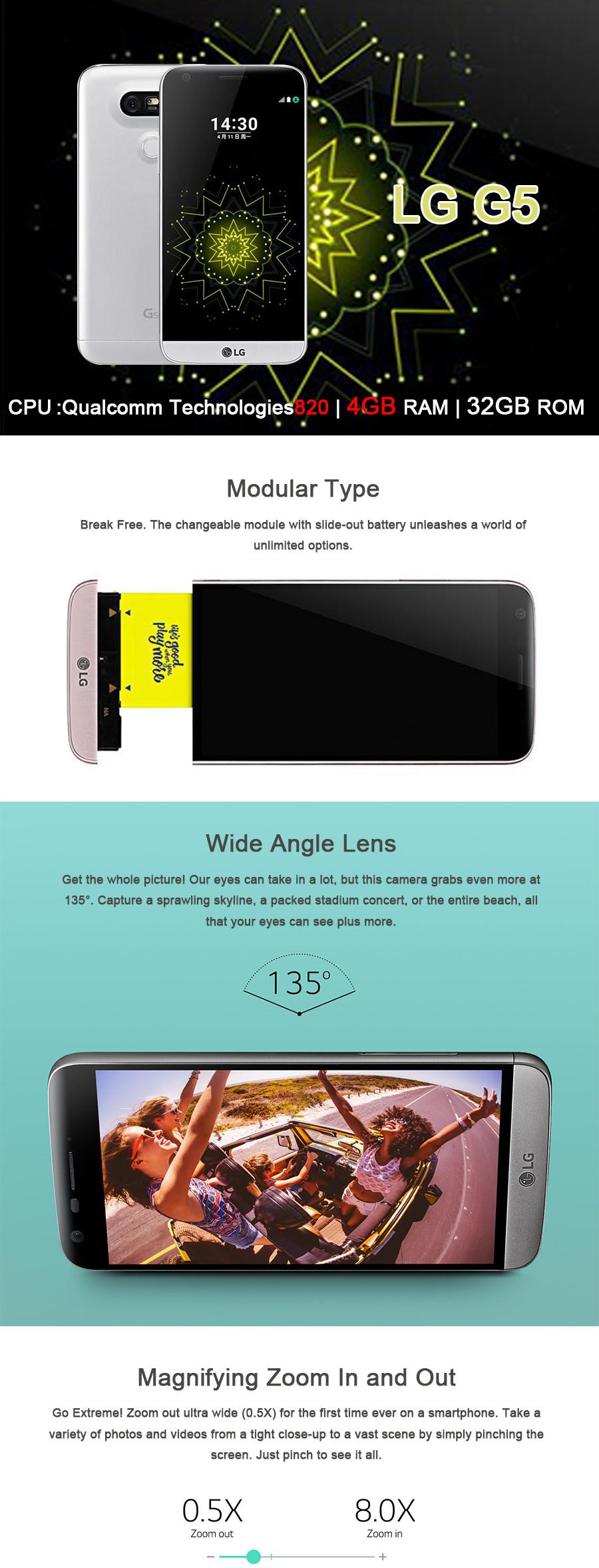 Original LG G5 4GB RAM 32GB ROM Mobile Phone 5.3″ Quad HD IPS Quantum 2560*1440 px snapdragon 820 16MP Camera 4G LTE CellPhone