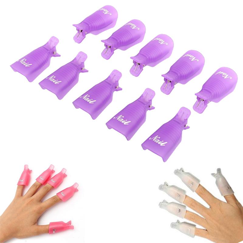 10PCS Plastic Nail Art Beauty Equipment Soak Off Cap Clip UV Gel Nail Polish Remover Wrap Nail Beauty Manicure Tools Wholesale(China (Mainland))