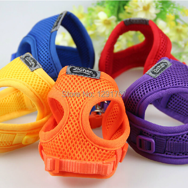 Soft Air Mesh Pet Harness Dog Clothes Pet Dog Cat Vest Harness Leash Dog Apparel Small Dog Harness Leash 6 Colors Free Shipping(China (Mainland))