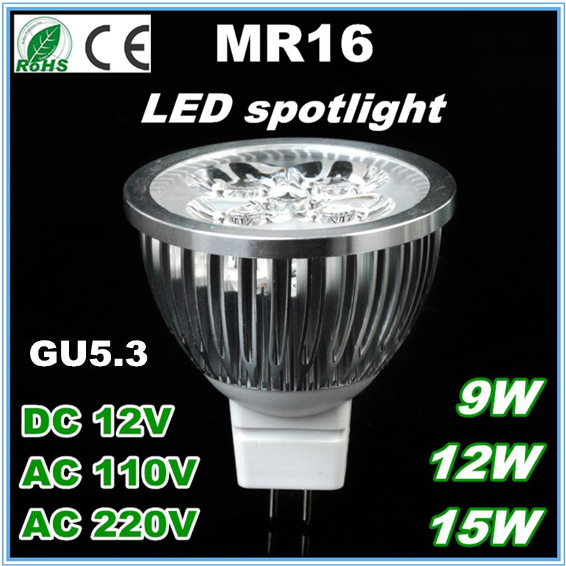 Free Shipping MR16 LED Bulb Light GU5.3 Base 15W 12W 9W Lamp 12V 220V 110V Dimmable LED Spotlight Downlight Warm Cool White 50(China (Mainland))