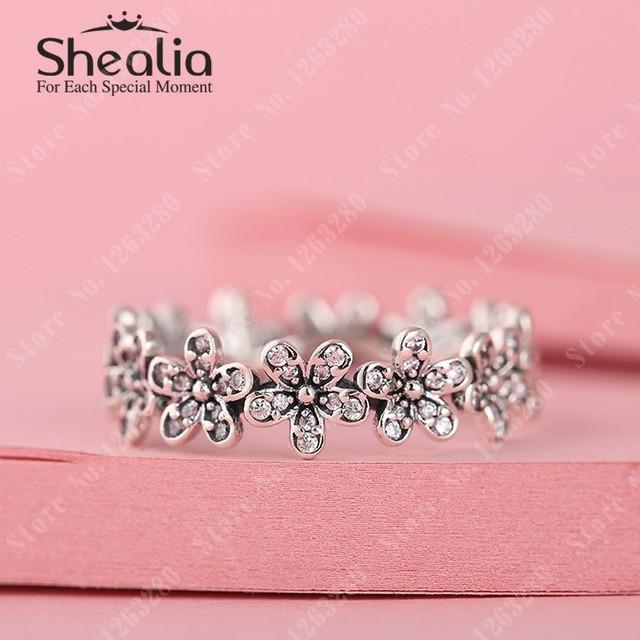 Весна вымощает маргаритка кольца с прозрачный CZ 925 чистое серебро цветы кольца для женщины своими руками ювелирные изделия аксессуары RIP119