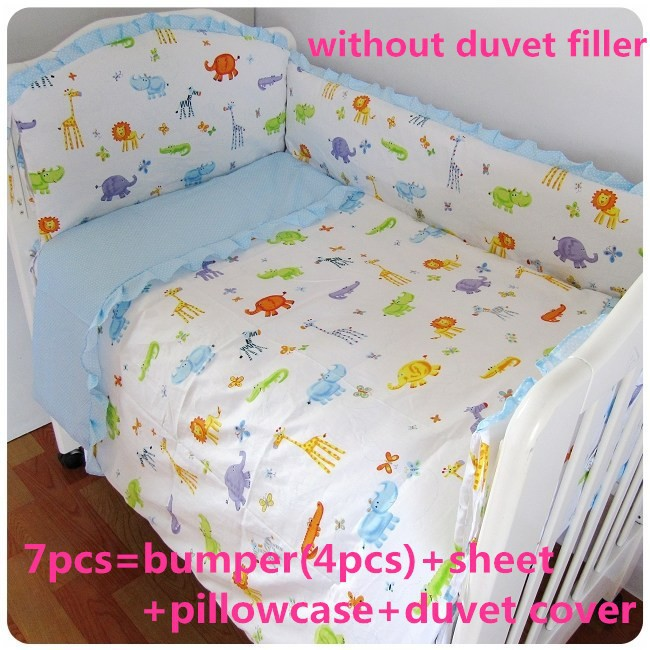 Promotion! 6/7PCS cribs for babies baby bedding set kit berco baby cotton curtain crib bumper  ,120*60/120*70cm<br><br>Aliexpress
