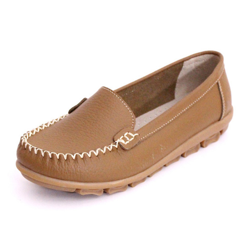 Top Quality Brand Women Genuine Leather Flats Shoes Moccasins Womenu0026#39;s Soft Leisure Flats Female ...