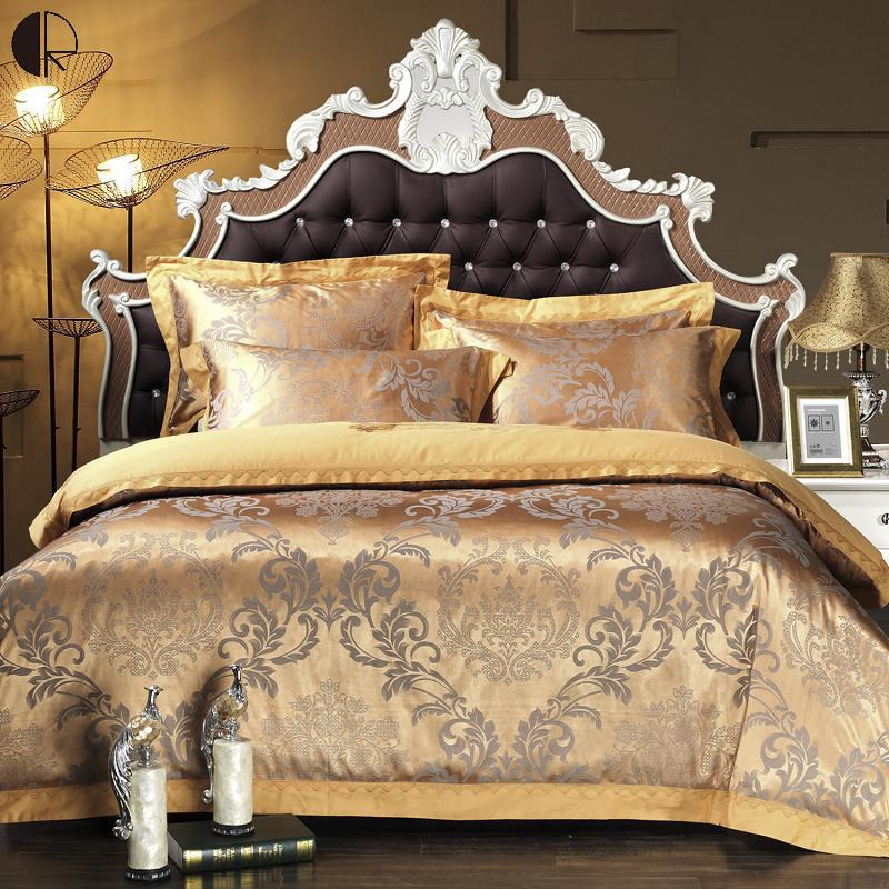 King Queen Size Bed 4pcs Silk Cotton Jacquard Lace Bed