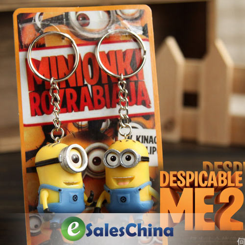 Free Shipping Cartoon Key Chain Despicable Me 3D Eye Small Minions Figure Kid toy Keychain 2Pcs/Lot(China (Mainland))