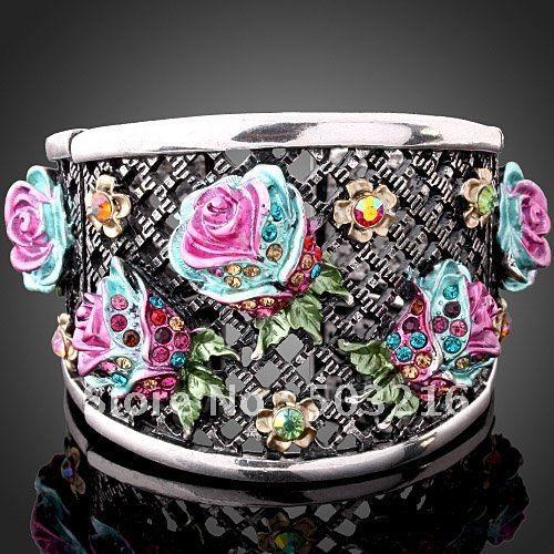 High Quality Wholesale Fashion Flower Bangle Free Shipping