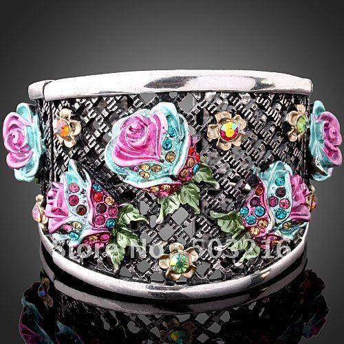 High Quality Wholesale Fashion Flower Bangle Free Shipping