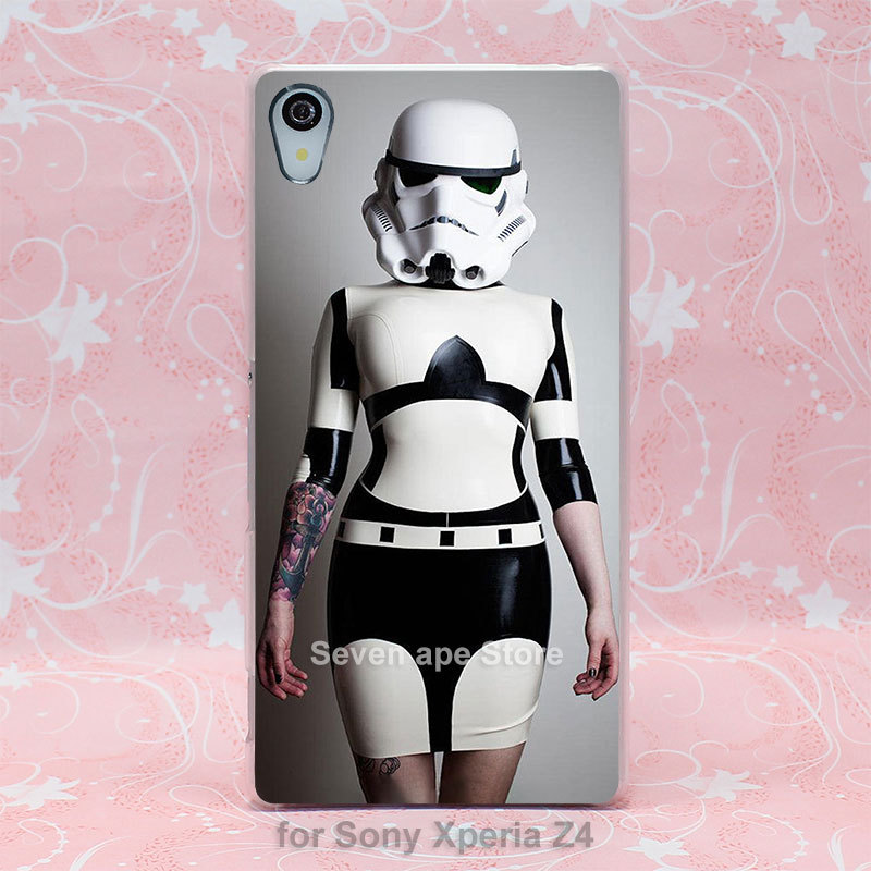 Star Wars Stormtrooper Inspired Rubber Latex Catsuit Pattern hard transparent clear case cover for Sony Xperia Z2 Z3 Z4(China (Mainland))