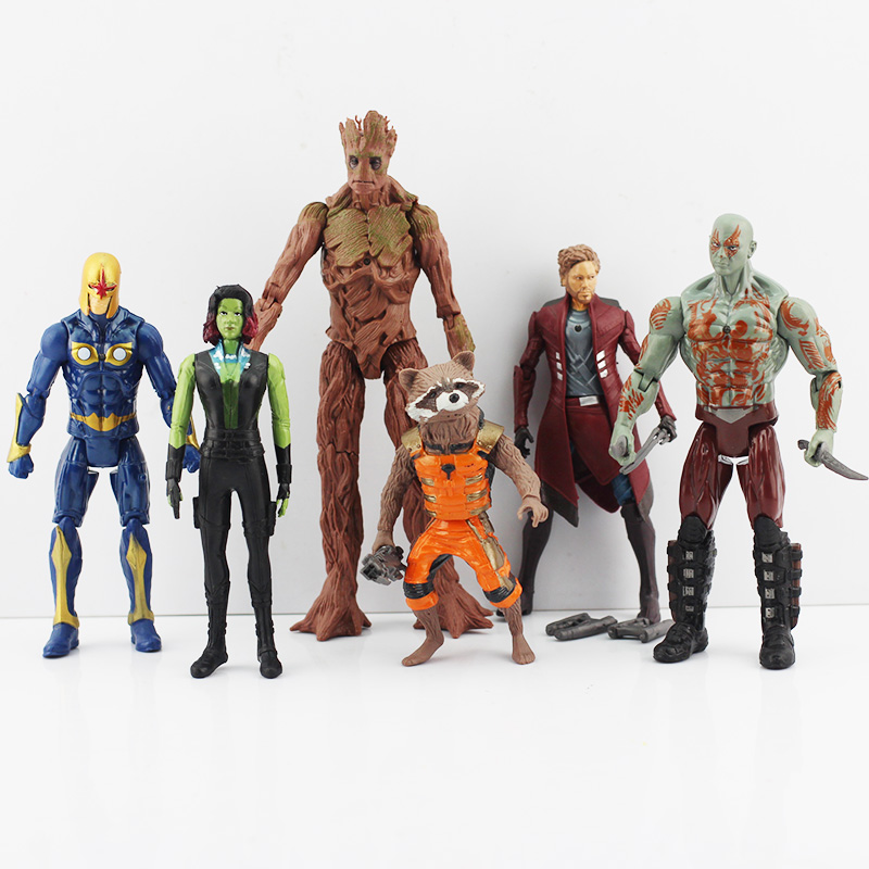 DHL Free shipping 30sets Marvel Guardians of the Galaxy PVC figure Star-Lord Gamora Rocket Raccoon Groot Drax Ronan figure toy<br><br>Aliexpress