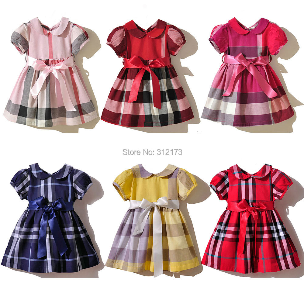 2014 New Kids Girl Dress Baby One-piece Cute Girls Plaid Summer/Spring Bowknot Clothing Cotton - lianliannishang store