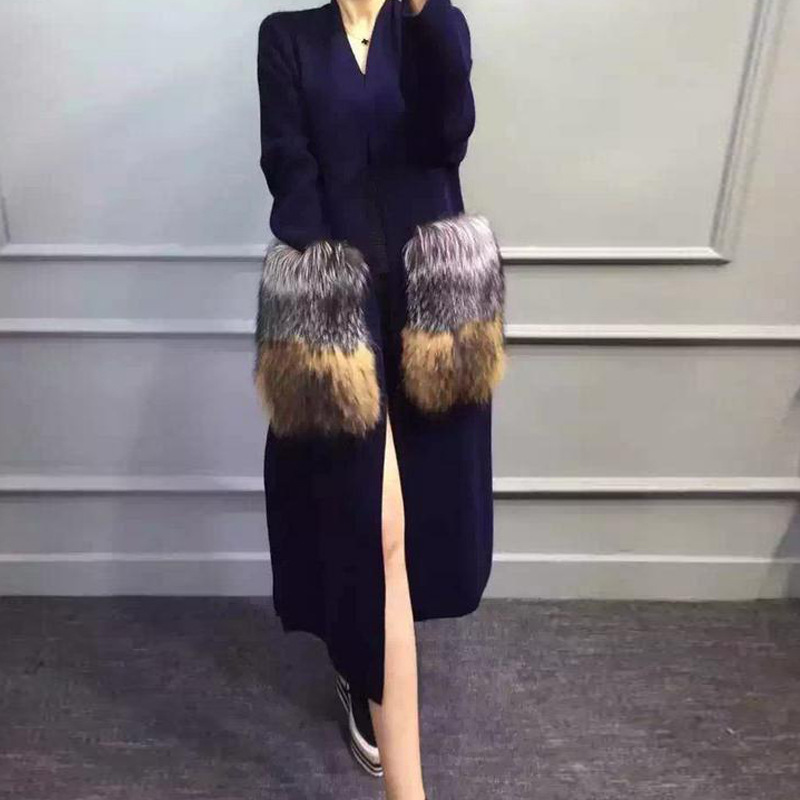 European fashion style new winter mink cashmere coat with fox fur pocket women's long length cardigan sweater for ladies(China (Mainland))