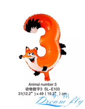 Free Shipping 19inch Animals number 3 balloon Number Figure Balloon for Party Decoration 50pcs/lot
