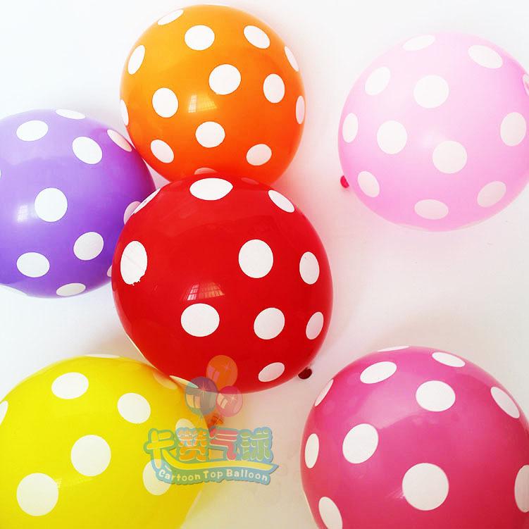 50pcs/lot 12 inch Latex Polka Dot Balloons Mixed Color Helium Ballons birthday/wedding Party Decoration kids toy globos 4g/pc(China (Mainland))