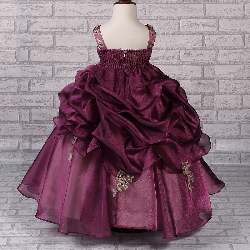 Glamour Pageant Dresses For Girls 2 10 Years Appliques Gold Lace Kids Evening Gowns Purple Flower