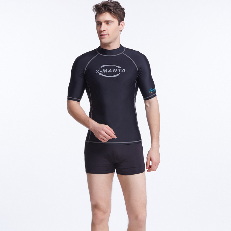 2016 Summer Short Sleeve Swim Surf Rash Guard Swimwear Men Blue Letter Print Diving Rashguard Sun-Protective Clothing S-3XL(China (Mainland))