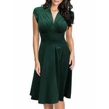 Modern Plus Size Green Hot Sale Ladies V Neck Office Clothing Summer Midi Casual Work Business Dress L36103-5
