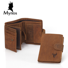 Buy MYNOS Luxury Brand Designer Cowhide Leather Vintage Trifold Hasp Wallet Men Big Capacity Short Purse Coin Pocket PortfolioS for $16.86 in AliExpress store