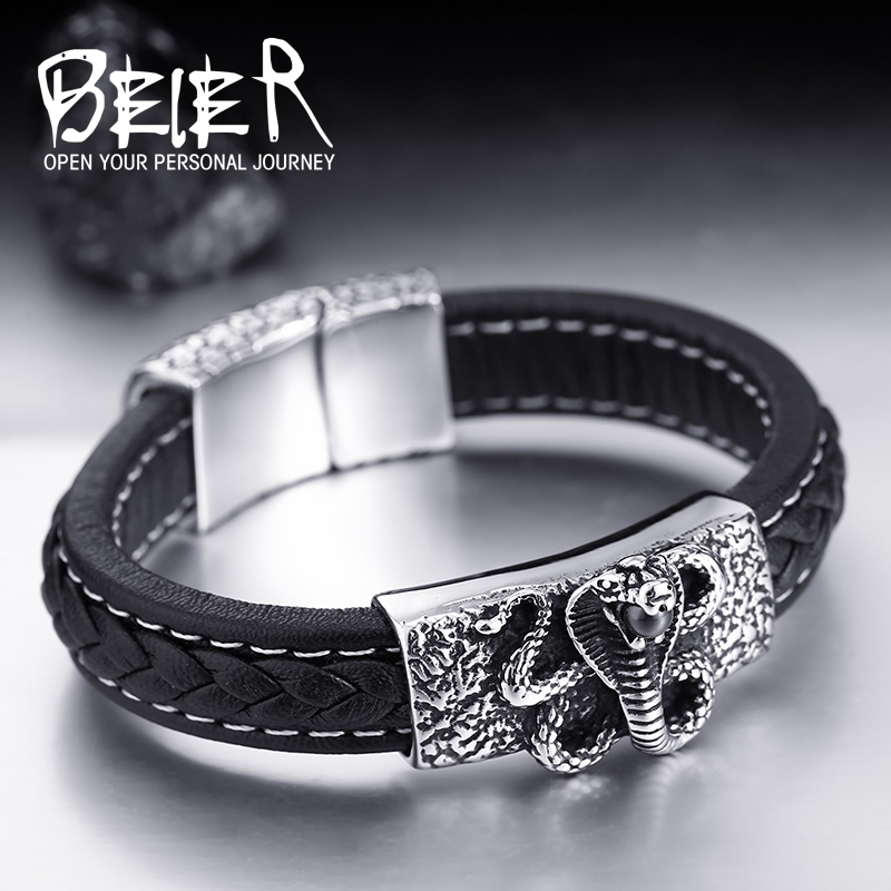 BEIER Wholesale Drop Ship Man's High Quality Genes Leather Cool Snake Bracelet Bangle For Man BC-L005(China (Mainland))
