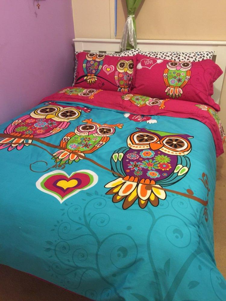 buy 3 4pcs twin single kids owl bedding queen king size adult owl duvet cover. Black Bedroom Furniture Sets. Home Design Ideas