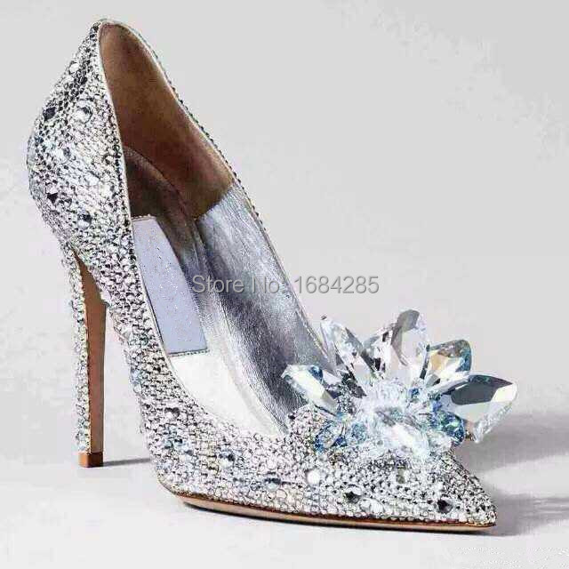 luxury crystal high heels Cinderella party shoes rhinestone pointed toe pumps wedding shoes