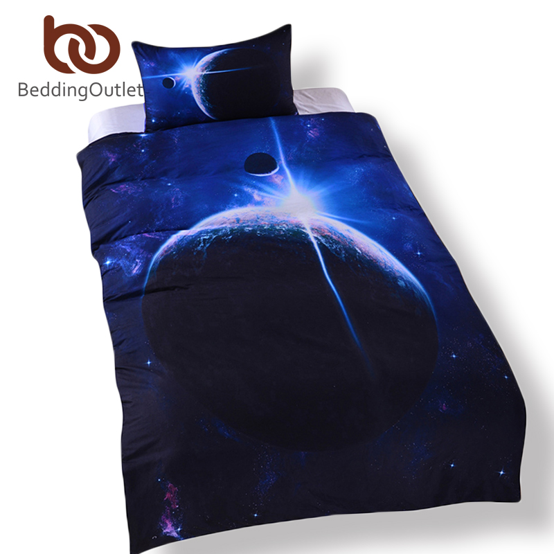 Beddingoutlet galaxy bed set earth moon print gorgeous for Outer space design group pty ltd