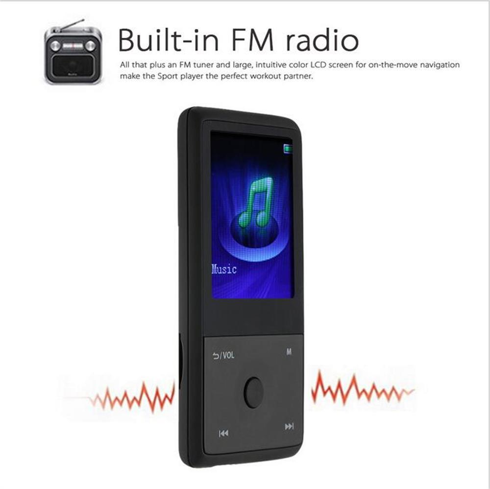 HOTT MU1036 2017 Bluetooth MP3 Player with 8GB 1.8 Inch Screen Sports MP3 player high quality lossless Recorder FM E-Book Clock