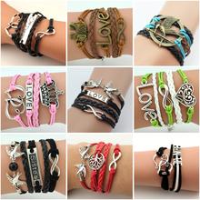 Multilayer Braided Bracelets Vintage Owl Harry Potter wings infinity bracelet, Multicolor woven leather bracelet & Bangle BQK003(China (Mainland))