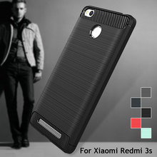 Case for Xiaomi Redmi 3s 3 Pro Cover Carbon Fibre Brushed TPU Smart Phone Cases for Xiaomi Redmi 3 Pro(China (Mainland))