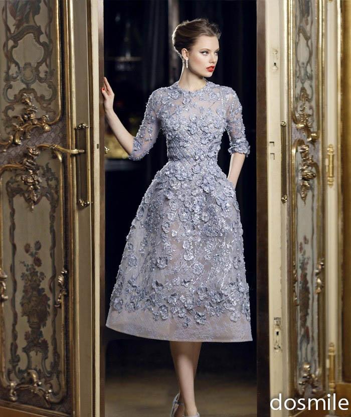 Silver Cocktail Dress Tea Length 13