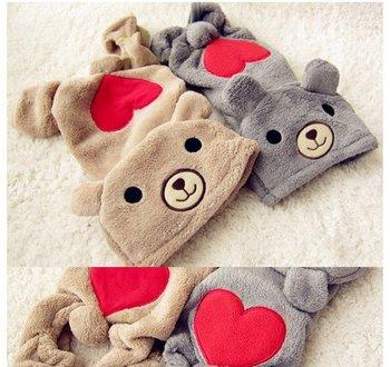 2 Colors LOVE U RED Heart BEAR Warm Thick Fleece DOG Clothes JUMPSUIT XS,S,M,L,XL