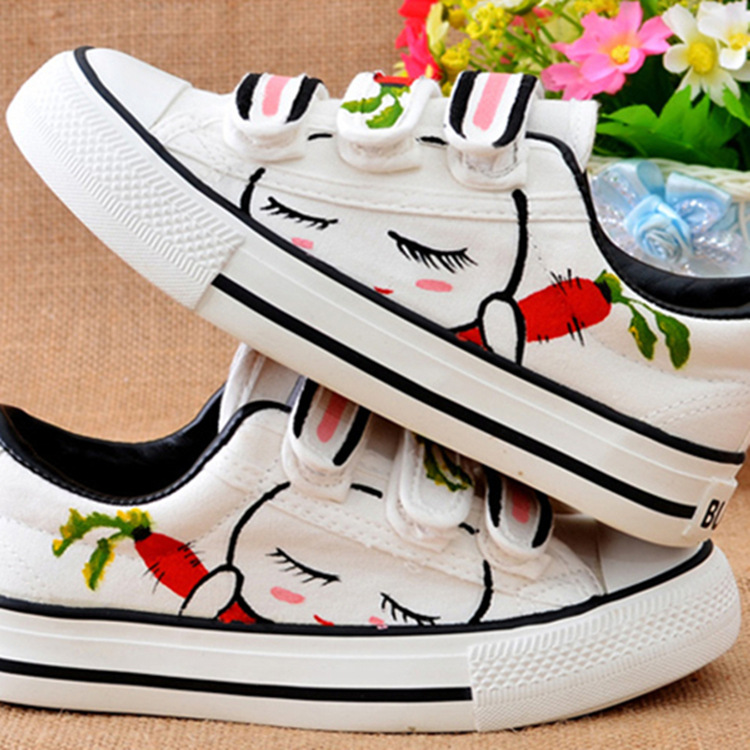 The new Korean students white magic shoes leisure shoes breathable canvas shoes female rabbit radish<br><br>Aliexpress
